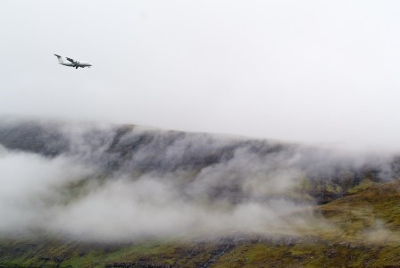 Aircraft landing at Vágar Airport, Faroe Islands