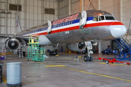 American Airlines B757-200 forward fuselage, service and emergency doors open
