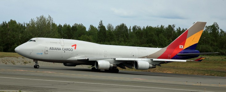 Asiana Airlines 747 Freighter taxiing at ANC (6310587393)