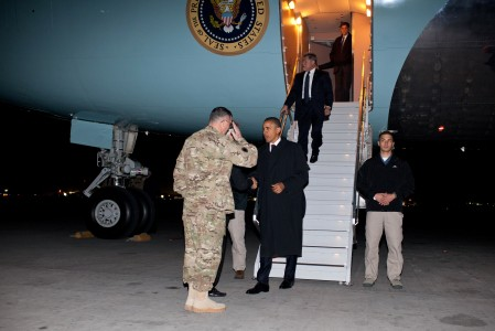 Barack Obama arrives at Bagram Airfield 2012