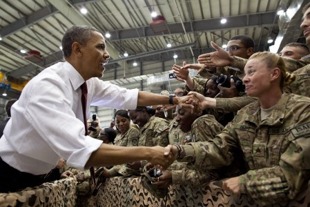 Barack Obama greeting troops at Bagram Airfield 2012