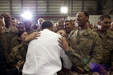 Barack Obama meeting troops at Bagram Airfield 2012