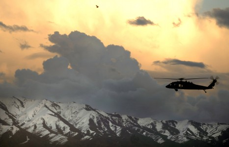 Black Hawk flying over Afghan mountains