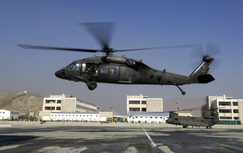 Blackhawk takes off from Kabul airport, afghanistan