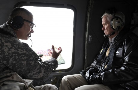 Defense.gov News Photo 101207-F-6655M-003 - Secretary of Defense Robert M. Gates listens to the Commanding General of the 101st Airborne Maj. Gen. Campbell while in flight to Forward