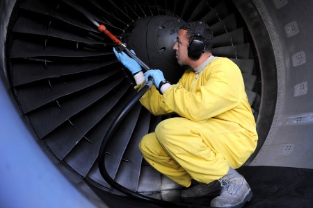 Defense.gov News Photo 110110-F-9708M-046 - U.S. Air Force Staff Sgt. Luis Mejias inspects and washes the blades of a C-17 Globemaster III aircraft at Joint Base Pearl Harbor-Hickam Hawaii