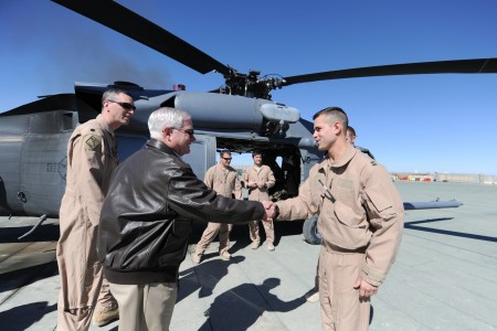Defense.gov News Photo 110308-D-XH843-022 - Secretary of Defense Robert M. Gates shakes hands with members of the Pedro Medevac unit at Camp Leatherneck in Afghanistan on March 8, 2011.
