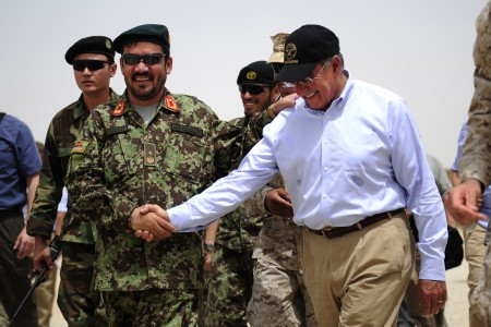 Defense.gov News Photo 110710-F-RG147-481 - Secretary of Defense Leon E. Panetta shakes hands with the commander of Afghanistan Garrison Support Unit 1-215 Embedded Training Team at Camp