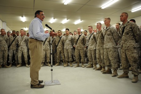 Defense.gov News Photo 110710-F-RG147-603 - Secretary of Defense Leon E. Panetta speaks to U.S. Marines assigned to Combat Logistics Battalion-7 at Camp Dwyer, Afghanistan, on July 10, 2011.