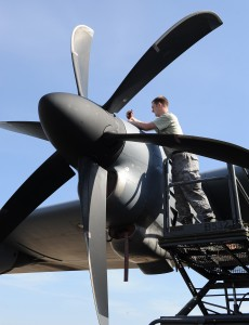 Defense.gov News Photo 120227-F-ZL760-942 - Staff Sgt. Thomas Johnson a 19th Equipment Maintenance Squadron aerospace propulsion craftsman finishes moving an engine propeller on a C-130J