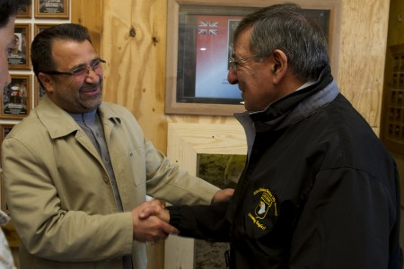 Defense.gov News Photo 120313-D-TT977-443 - Secretary of Defense Leon E. Panetta is greeted by Helmand provincial governor Gulab Mangal during a visit to Camp Bastion Afghanistan on March