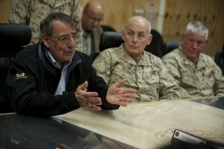 Defense.gov News Photo 120313-D-TT977-471 - Secretary of Defense Leon E. Panetta holds a meeting with Afghan provincial leaders at Camp Bastion Afghanistan on March 14 2012. Panetta is on