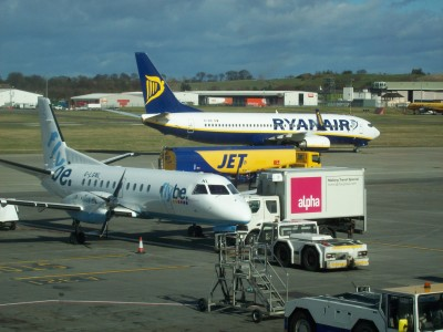 Edinburgh Airport Flybe and Ryanair aircraft