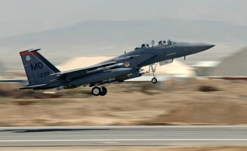 F-15E Strike Eagle lifts off from Bagram Air Base for CAS mission