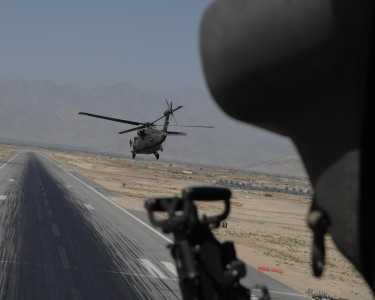 Helicopter taking off at Bagram