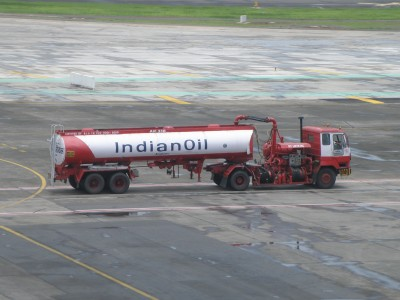 IndianOil tanker in front of terminal 1C at Mumbai airport