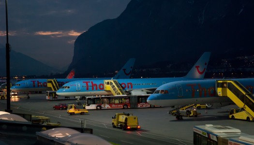 Innsbruck Airport with Thomson airplanes