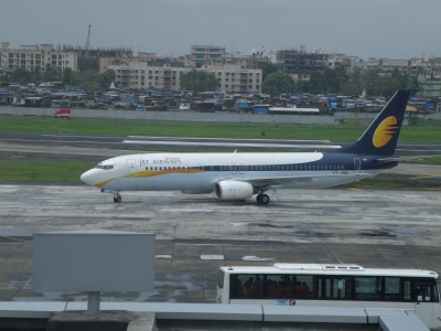Jet Konnect aircraft in front of terminal 1C at Mumbai airport