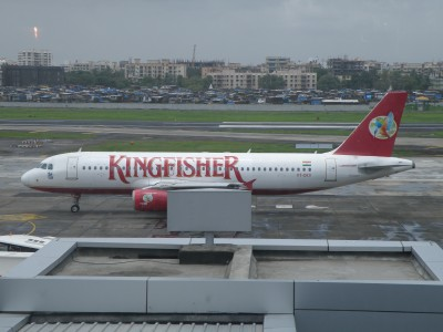 Kingfisher aircraft in front of terminal 1C at Mumbai airport