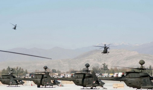 Kiowa helicopters at Jalalabad Airfield, Afghanistan