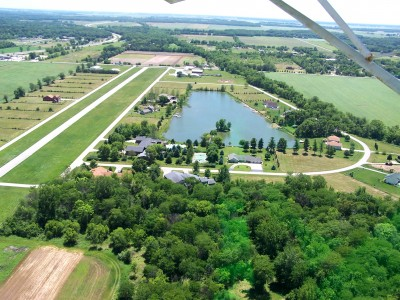 Lake Village Airport and Lake Aero Estates looking south