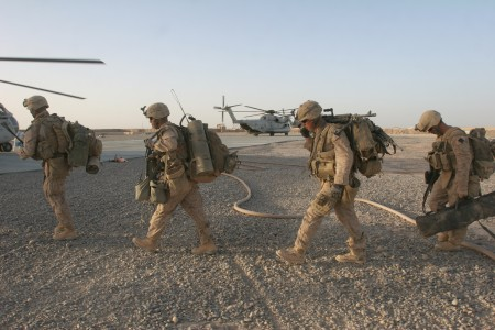 Marines Boarding Helicopters Operation Khanjar