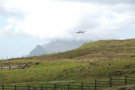 Plane landing at Vágar Airport, Faroe Islands