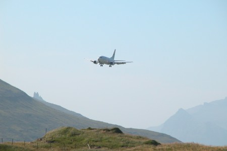 Plane landing at Vágar Airport, Faroe Islands (2)