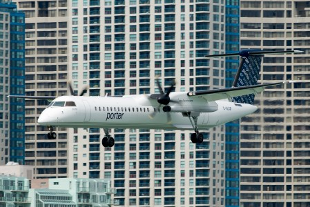 Porter Airlines Dash 8 in Billy Bishop Toronto City Airport YTZ in July 2008