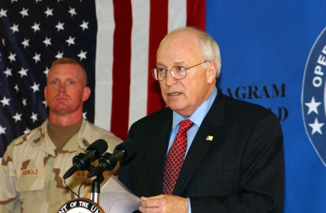 US Navy 041207-N-5608F-007 U.S. Vice President Dick Cheney took time to talk with over 200 service members in Bagram, Afghanistan at the base dinning facility before departing to Kabul, Afghanistan