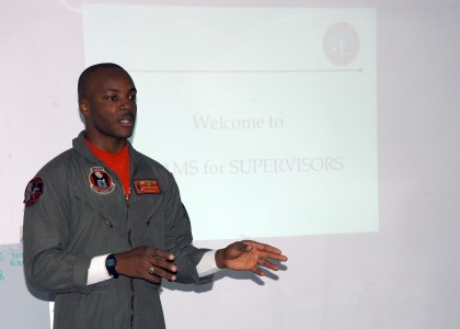 US Navy 061106-N-0068G-008 Aviation Warfare Systems Operator 2nd Class Trevor Godwin, of Tampa, Fla., facilitates an Alcohol and Drug Abuse Management Supervisors (ADAMS) class