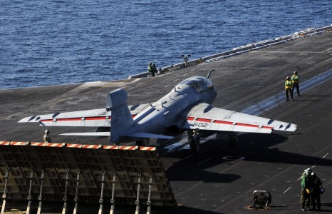 US Navy 100105-N-3038W-020 An EA-6B Prowler assigned to the Black Ravens of Tactical Electronic Attack Squadron (VAQ) 135 prepares to launch from the aircraft carrier USS Nimitz (CVN 68)