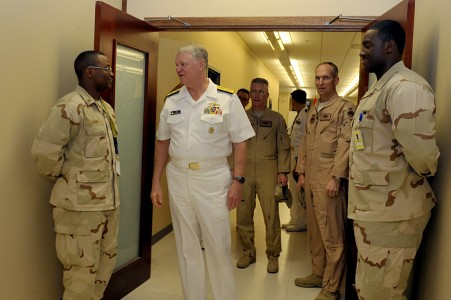 US Navy 100330-N-8273J-074 Chief of Naval Operations (CNO) Adm. Gary Roughead meets with Sailors assigned to the Combined Air Operations Center at Al Udied Airbase, Qatar