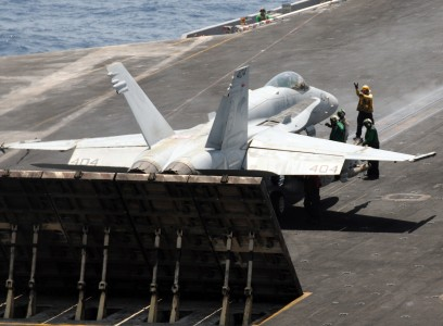 US Navy 100512-N-4236E-378 An F-A-18C Hornet assigned to the Wildcats of Strike Fighter Squadron (VFA) 131 prepares to launch from the aircraft carrier USS Dwight D. Eisenhower (CVN 69)