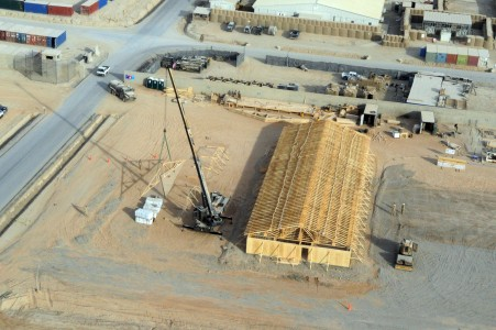 US Navy 110105-N-0318S-084 An aerial view of one of two large southwest Asia huts, 50 feet by 150 feet, being built by Seabees assigned to Naval Mo
