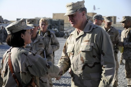 US Navy 110122-N-4345W-206 Chief of Naval Operations (CNO) Adm. Gary Roughead greets Hospital Corpsman 1st Class Starla Martin