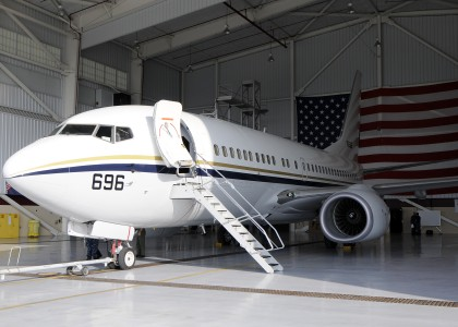US Navy 111021-N-WD757-218 A C-40 Clipper assigned to Fleet Logistics Support Squadron (VR) 57 is in a hangar after arriving in Naval Air Station N