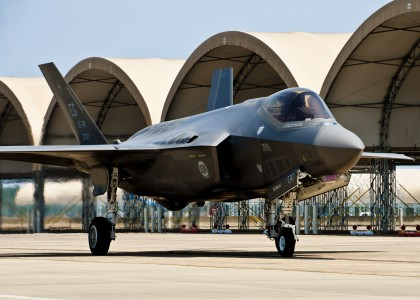 USAF's first F-35 on taxiway at new home