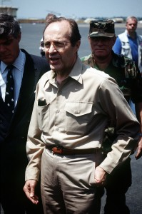 William Perry shortly after arriving at Kigali Airport in Rwanda, 1994