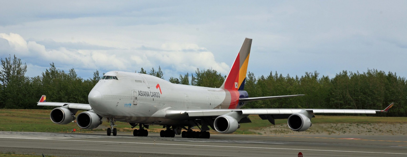 Asiana Airlines 747 Freighter turning on the active runway at ANC (6310587607)