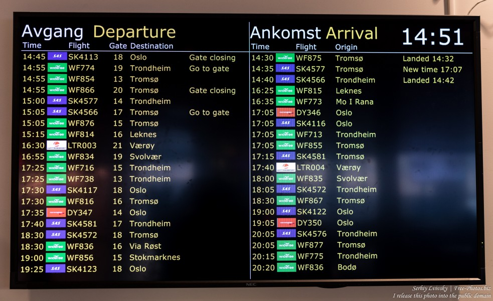 Bodø airport flight timetable, Norway, February 2020, photographed by Serhiy Lvivsky