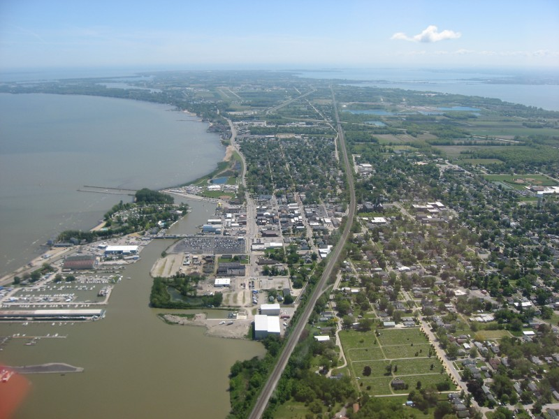 Downtown Port Clinton from the air
