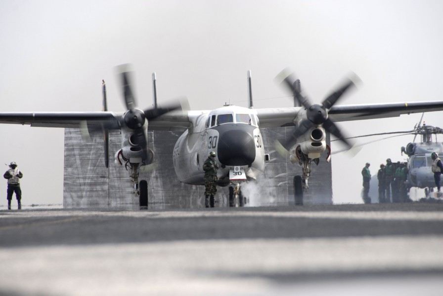 US Navy 110320-N-KF029-100 A C-2A Greyhound assigned to the Providers of Fleet Logistics Combat Support Squadron (VRC) 30 prepares to take off from