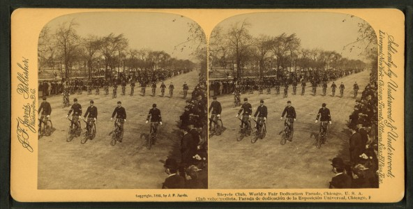 Bicycle Club, World's Fair Dedication parade, Chicago, U.S.A, from Robert N. Dennis collection of stereoscopic views