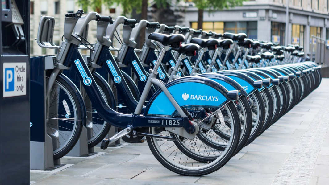 Barclays Cycle Hire, St. Mary Axe, Aldgate