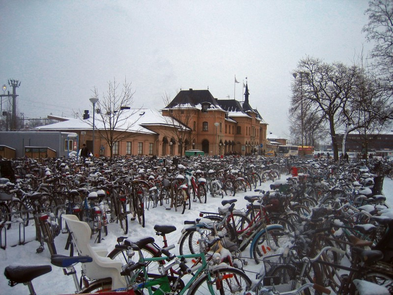 Bikes outside Central train station, Uppsala, Sweden