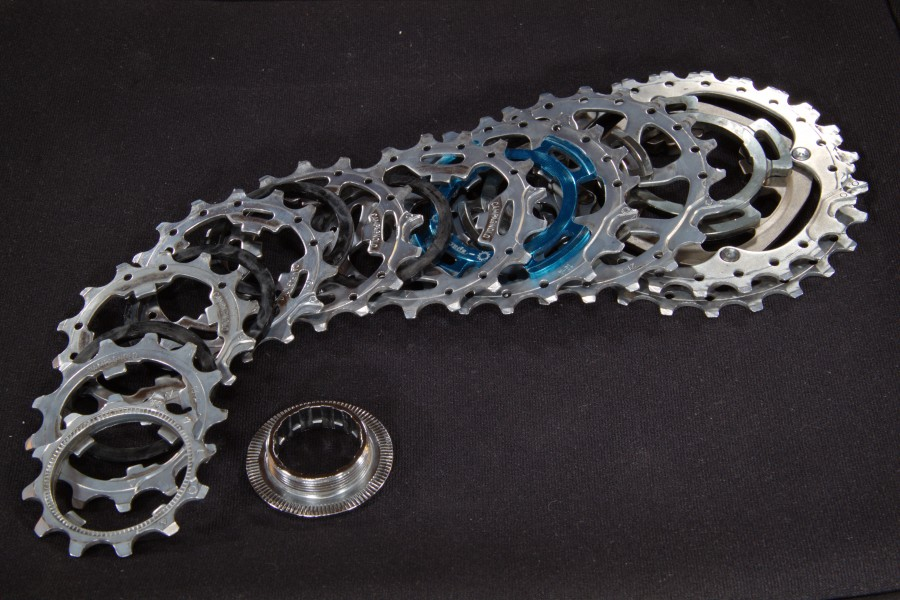 Disassembled Campagnolo Centaur cassette - side view