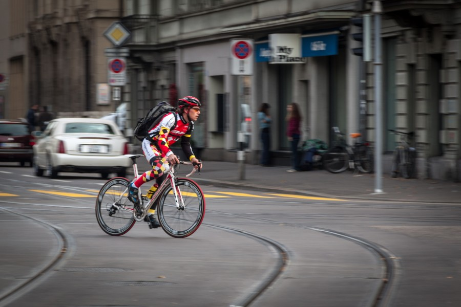 Sportsman on road bicycle in Zürich