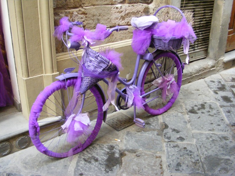 Violet bicycle in Florence - advertisement for a lavender shop