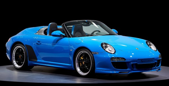 2010 Blue Porsche 911 Speedster 997 Mondial Paris